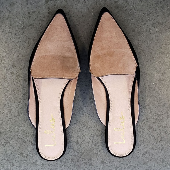10746fdbdb Lulu's Shoes | New Joelle Black Two Tone Suede Loafer Slides | Poshmark